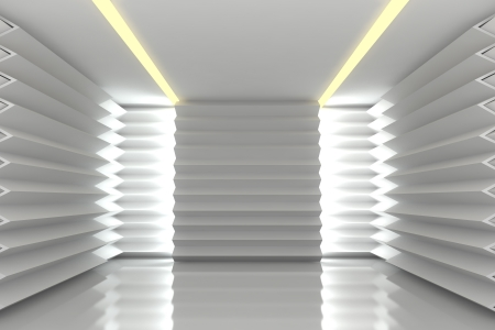 Abstract white serrated wall with empty room