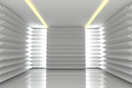 Abstracte witte getande muur met lege kamer Stockfoto