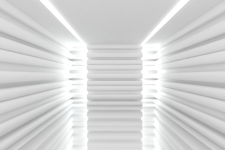 Abstract white empty room with curve wall Stock Photo