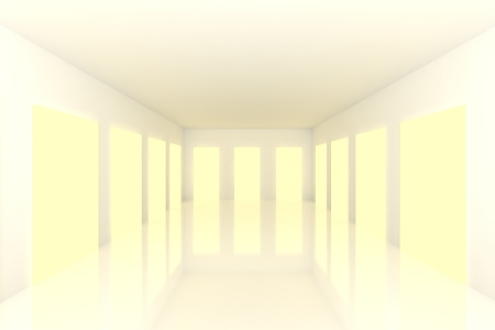White Empty room with abstract color yellow door photo