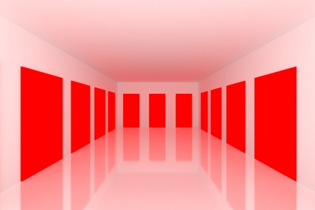 White Empty room with abstract color red door Stock Photo - 15471916