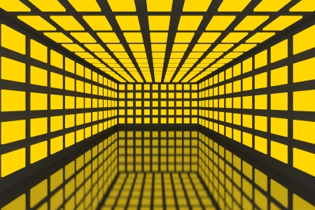 Empty room with abstract color yellow lighting and black wall Stock Photo - 15471911