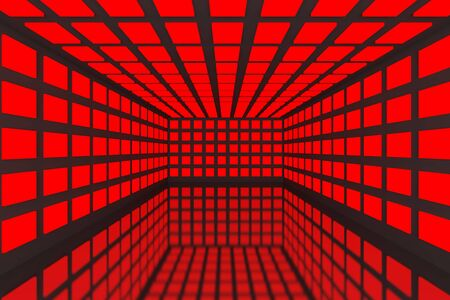 Empty room with abstract color red lighting and black wall Stock Photo - 15471914