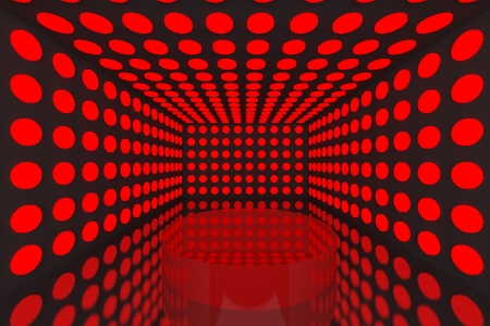 Podium in Empty room with abstract color red lighting sphere wall and black wall Stock Photo - 15548771