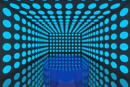 light reflex: Podium in Empty room with abstract color blue lighting sphere wall and black wall