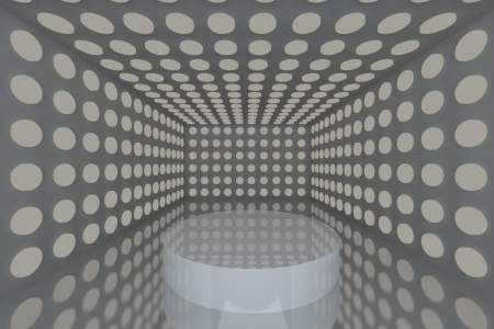 Podium in Empty room with abstract color gray lighting sphere wall and gray wall  photo