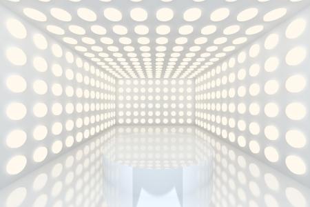 Podium en la habitaci�n vac�a con la iluminaci�n abstracta color blanco esfera pared y pared blanca