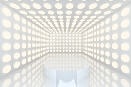 Podium in Empty room with abstract color white lighting sphere wall and white wall