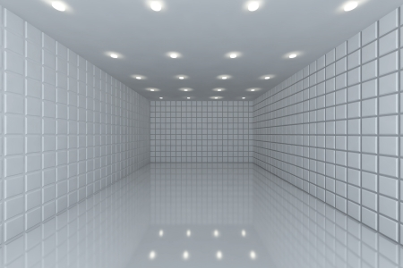 Empty room with color white tile wall Stock Photo