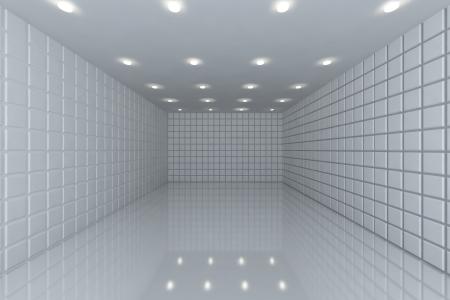 Empty room with color white tile wall Foto de archivo