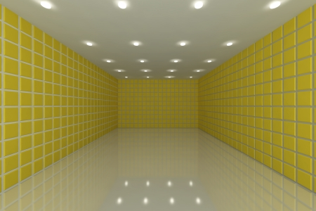 Empty room with color yellow tile wall photo