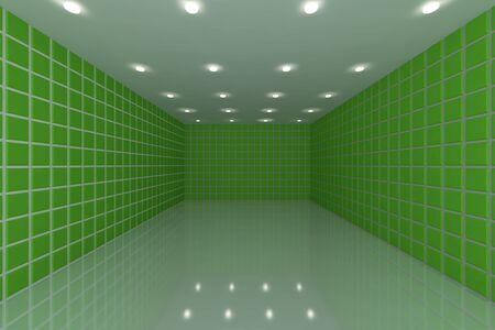 tile floor: Empty room with color green tile wall Stock Photo
