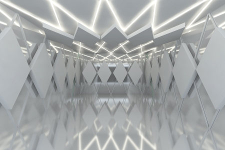 Abstract white serrated wall with empty room Stock Photo - 15593656