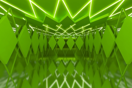 Abstract green serrated wall with empty room  photo