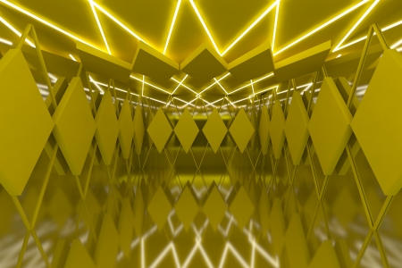 Abstract yellow serrated wall with empty room  photo