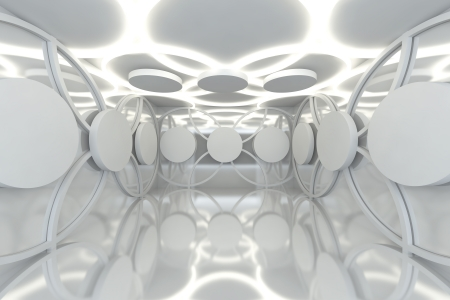 ceiling design: Abstract white sphere wall with empty room