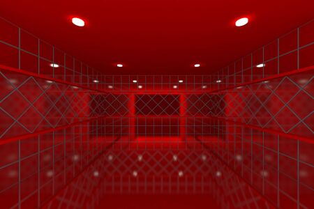 Empty room with color red tile wall  Stock Photo - 15696220