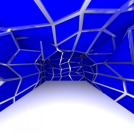 빈 방에 추상 파란색 대각선 벽