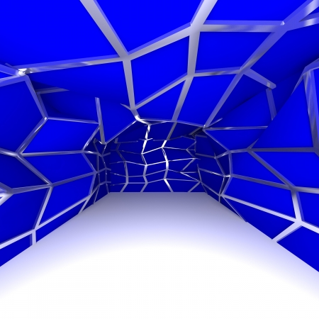 Abstract blue diagonal wall in empty room