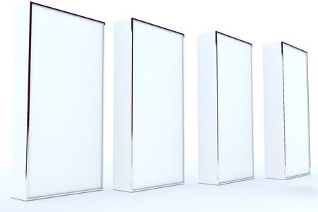 디자인 작업에 빈 상자 표시 새로운 디자인의 알루미늄 프레임 템플릿, 흰색 배경에 격리 스톡 사진