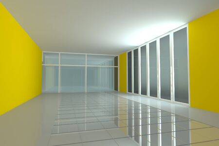 Empty room for interior seminar room color yellow wall photo