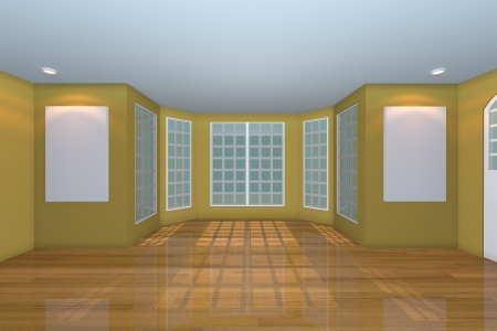 Home interior rendering with empty room color yellow wall and decorated with wooden floors   photo