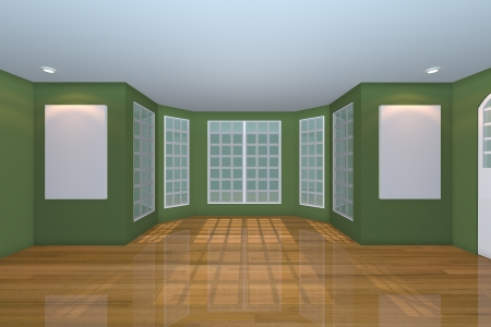 Home interior rendering with empty room color green wall and decorated with wooden floors   photo