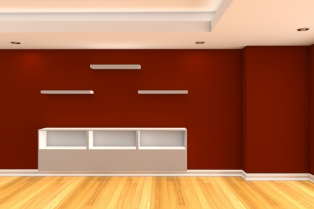 Modern minimalist empty livingroom with red wall wood floor Stock Photo - 16664250