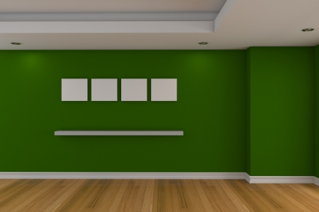 Modern minimalist empty livingroom with green wall wood floor photo