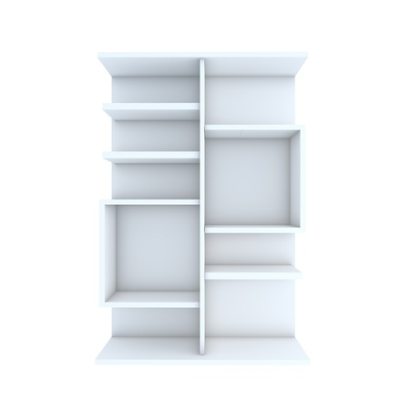 Color white shelf design with white background photo