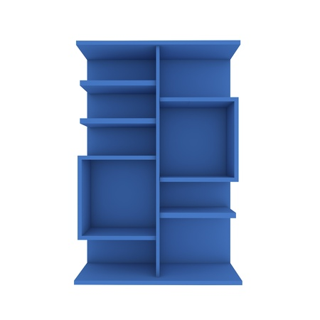 Color blue shelf design with white background photo