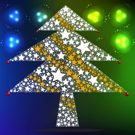 Stars gather as Christmas tree, Vector Christmas Background  Vector