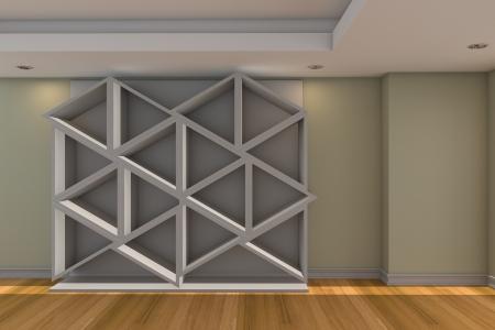 Modern minimalist empty livingroom with color wall wood floor Stock Photo - 16849557