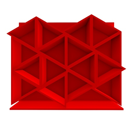 Color red triangle shelf design with white background Stock Photo - 16849551
