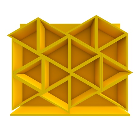 Color yellow triangle shelf design with white background Stock Photo - 16849556