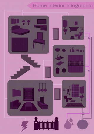 Home Interior Info graphic Design Vector
