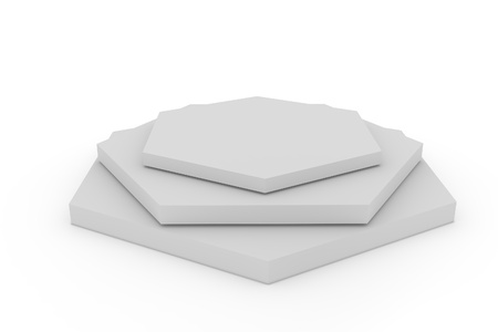 3d isolated Empty hexagon podium on white background  版權商用圖片