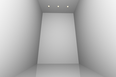 downlight: White simple empty room interior with three downlight