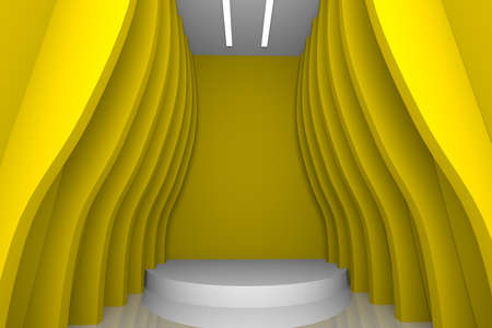 empty room with abstract design color yellow wall  photo