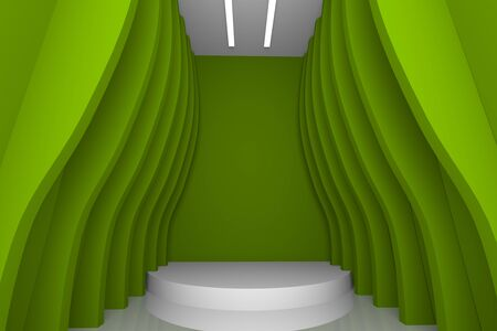 empty room with abstract design color green wall photo