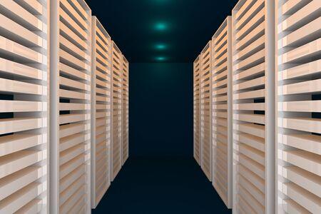 Empty blue room for modern interior of server room in datacenter Stock Photo - 17289755