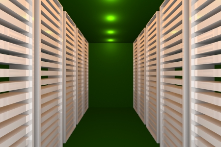 Empty green room for modern interior of server room in datacenter  photo