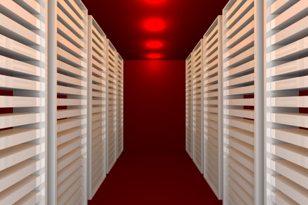 Empty red room for modern interior of server room in datacenter  photo