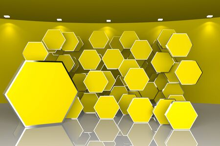 Abstract interior rendering with empty room curved color yellow wall and hexagon  box display  Stock Photo - 17636483