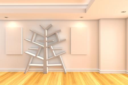 Modern minimalist empty livingroom with color wall wood floor for bookshelf inter background Stock Photo - 17773275