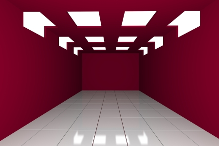 Abstract red empty room with structure box photo