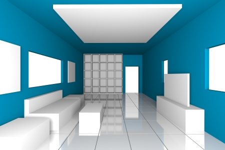 Mock-up for minimalist livingroom with blue wall and tile floor  Ideal for ineterior design background    photo