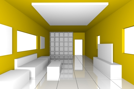 Mock-up for minimalist livingroom with yellow wall and tile floor  Ideal for ineterior design background    photo