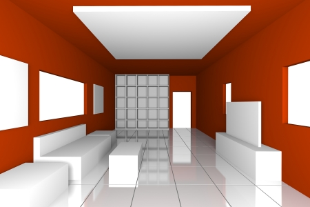 Mock-up for minimalist livingroom with red wall and tile floor  Ideal for ineterior design background    photo