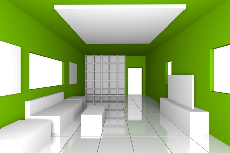 Mock-up for minimalist livingroom with green wall and tile floor  Ideal for ineterior design background Stock Photo - 17773319
